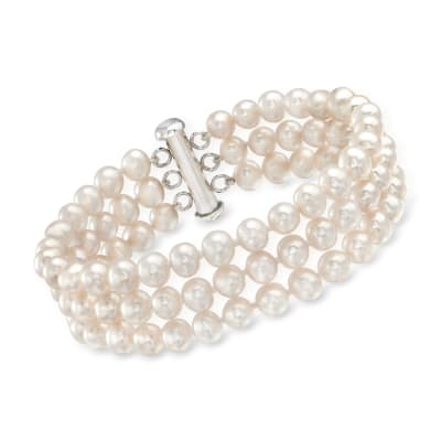 5.5-6.5mm Cultured Pearl Triple-Strand Bracelet with Sterling Silver