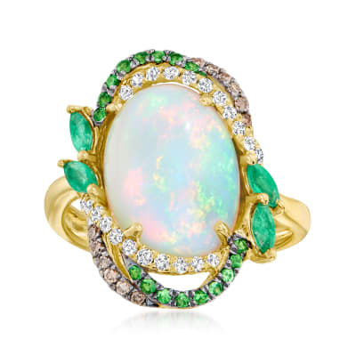 Ethiopian Opal and .59 ct. t.w. Multi-Stone Ring in 14kt Yellow Gold