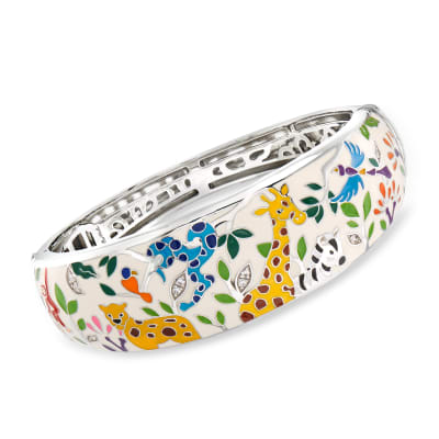 "Belle Etoile ""Serengeti"" Ivory and Multicolored Enamel Bangle Bracelet with CZ Accents in Sterling Silver"