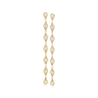 1.00 ct. t.w. Diamond Bezel-Set Linear Drop Earrings in 14kt Yellow Gold