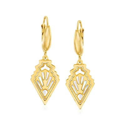 Italian Mother-Of-Pearl Art Deco-Style Drop Earrings in 14kt Yellow Gold