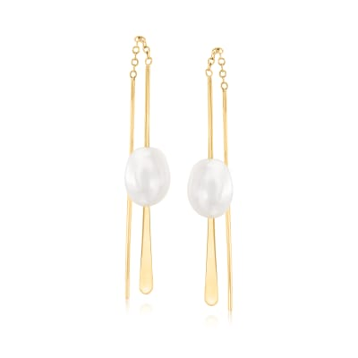 8mm Cultured Pearl Linear Earrings in 14kt Yellow Gold