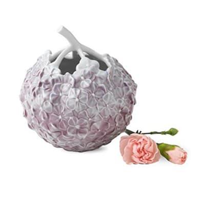 Royal Copenhagen Hand-Painted Lilac Porcelain Hydrangea Vase