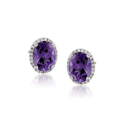 3.50 ct. t.w. Amethyst Stud Earrings with .10 ct. t.w. Diamonds in 14kt White Gold