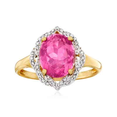 3.00 Carat Pink Topaz Ring with .14 ct. t.w. Diamonds in 14kt Yellow Gold