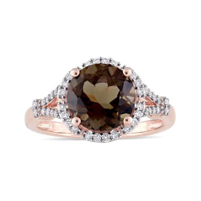 2.80 Carat Smoky Quartz and .20 ct. t.w. Diamond Ring in 14kt Rose Gold