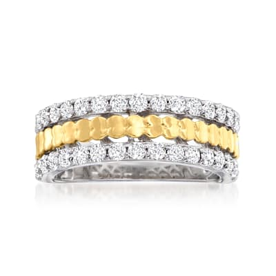 1.00 ct. t.w. Diamond Two-Tone Heart Ring in Sterling Silver with 14kt Gold