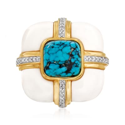 White Agate and Stabilized Turquoise Ring with .10 ct. t.w. Diamonds in 18kt Gold Over Sterling