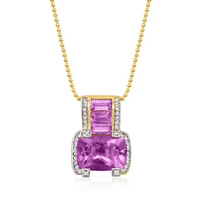 7.60 ct. t.w. Amethyst and .20 ct. t.w. White Zircon Pendant Necklace in 18kt Gold Over Sterling