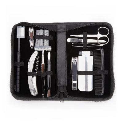 Royce Men's Black Leather Travel Grooming Kit