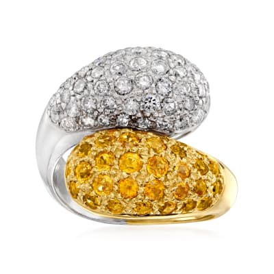 C. 1990 Vintage 1.82 ct. t.w. Yellow Sapphire and 1.16 ct. t.w. White Diamond Bypass Ring in Platinum and 18kt Yellow Gold