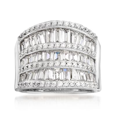 3.20 ct. t.w. CZ Saddle Ring in Sterling Silver