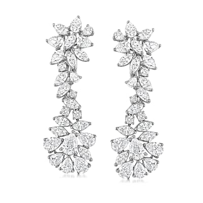 13.55 ct. t.w. Diamond Drop Earrings in 18kt White Gold