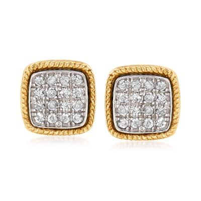 .50 ct. t.w. Diamond Cluster Earrings in 14kt Yellow Gold and Sterling Silver