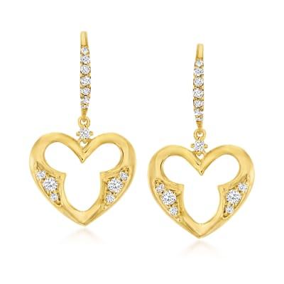 .34 ct. t.w. Diamond Open-Space Heart Drop Earrings in 18kt Gold Over Sterling