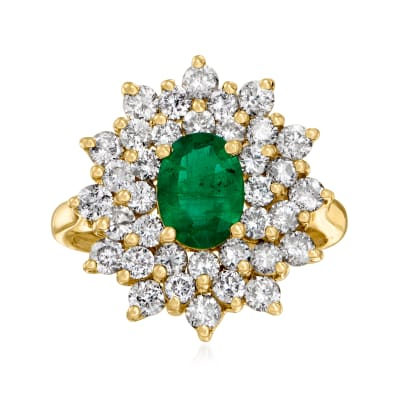 1.10 Carat Emerald and 1.80 ct. t.w. Diamond Ring in 14kt Yellow Gold