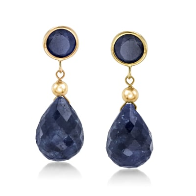 11.00 ct. t.w. Sapphire Drop Earrings in 14kt Yellow Gold