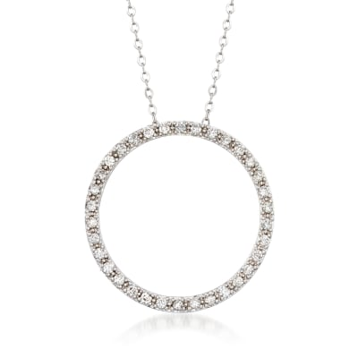.48 ct. t.w. Diamond Open Circle Necklace in 14kt White Gold