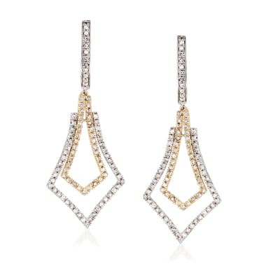 1.00 ct. t.w. Diamond Drop Earrings in Sterling Silver and 14kt Yellow Gold