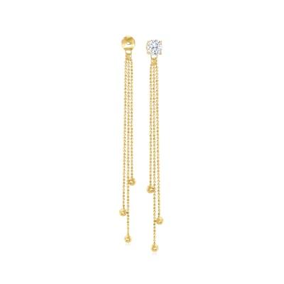 14kt Yellow Gold Beaded Tassel Earring Jackets