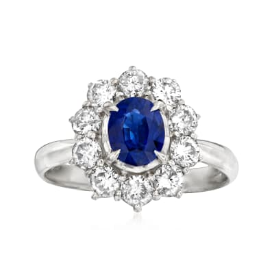 C. 1990 Vintage 1.07 Carat Sapphire and 1.05 ct. t.w. Diamond Ring in Platinum