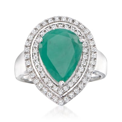 2.60 Carat Emerald and .45 ct. t.w. White Topaz Pear-Shaped Ring in Sterling Silver