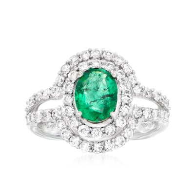 C. 1990 Vintage 1.30 Carat Emerald and 1.20 ct. t.w. Diamond Halo Ring in 14kt White Gold