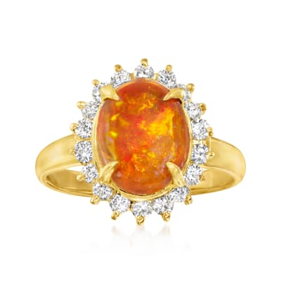 C. 1990 Fire Opal and .41 ct. t.w. Diamond Ring in 18kt Yellow Gold