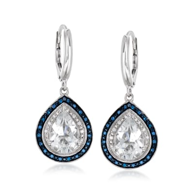 1.40 ct. t.w. White Topaz and .20 ct. t.w. Blue and White Diamond Drop Earrings in Sterling Silver