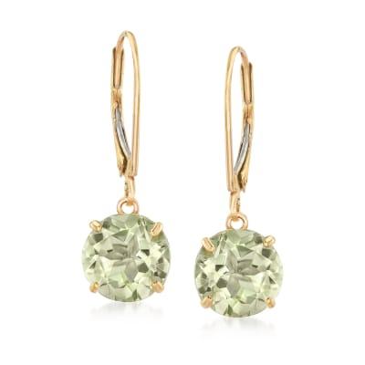 3.70 ct. t.w. Prasiolite Drop Earrings in 14kt Yellow Gold