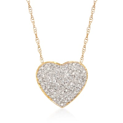 .25 ct. t.w. Diamond Heart Pendant Necklace in 14kt Yellow Gold