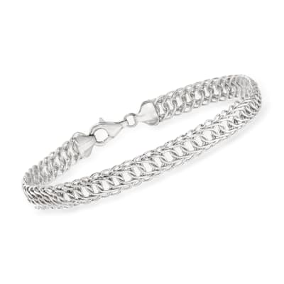 Sterling Silver Curved Interlocking-Link Bracelet