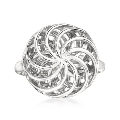 Italian Sterling Silver Openwork Swirl Ring