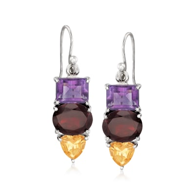 13.80 Multi-Gemstone Drop Earrings with Sterling Silver