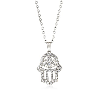 .37 ct. t.w. Diamond Hamsa Hand Pendant Necklace in Sterling Silver