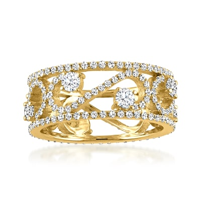 1.72 ct. t.w. Diamond Swirl Openwork Ring in 18kt Yellow Gold