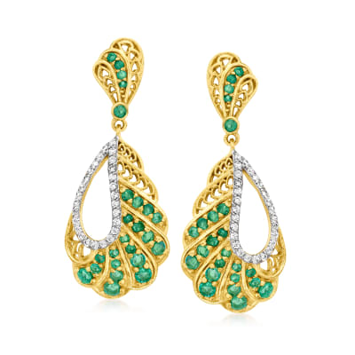 1.90 ct. t.w. Emerald and .80 ct. t.w. White Zircon Drop Earrings in 18kt Gold Over Sterling
