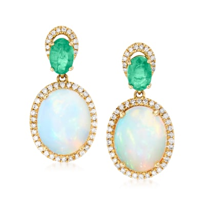 Ethiopian Opal, .90 ct. t.w. Emerald and .32 ct. t.w. Diamond Drop Earrings in 14kt Yellow Gold