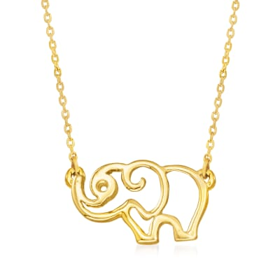 14kt Yellow Gold Elephant Outline Necklace