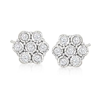 .10 ct. t.w. Diamond Flower Stud Earrings in 14kt White Gold