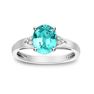 2.40 Carat Blue Zircon Ring with Diamond Accents in 14kt White Gold