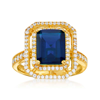 4.25 Carat Simulated Sapphire and .40 ct. t.w. CZ Ring in 18kt Gold Over Sterling