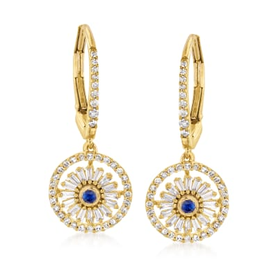 .67 ct. t.w. Diamond and .10 ct. t.w. Sapphire Drop Earrings in 18kt Gold Over Sterling