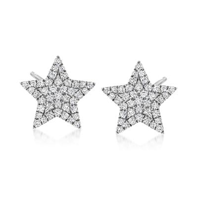 .19 ct. t.w. Diamond Star Stud Earrings in 14kt White Gold