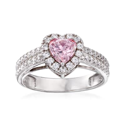 .75 Carat Swarovski Morganite CZ and .69 ct. t.w. Swarovski CZ Heart Ring in Sterling Silver