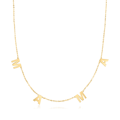 """14kt Yellow Gold """"Mama"""" Charm Necklace"""