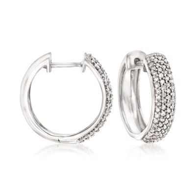 .50 ct. t.w. Pave Diamond Hoop Earrings in 14kt White Gold