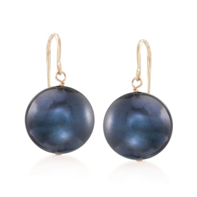 11mm Peacock Cultured Pearl Drop Earrings in 14kt Yellow Gold