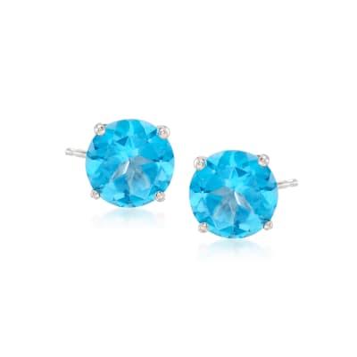 2.80 ct. t.w. Blue Topaz Post Earrings in 14kt White Gold