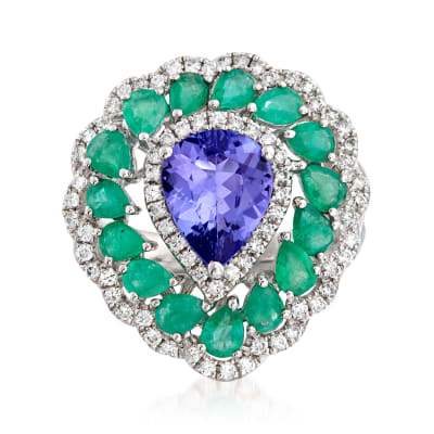 1.90 Carat Tanzanite, 1.90 ct. t.w. Emerald and .54 ct. t.w. Diamond Halo Ring in 18kt White Gold
